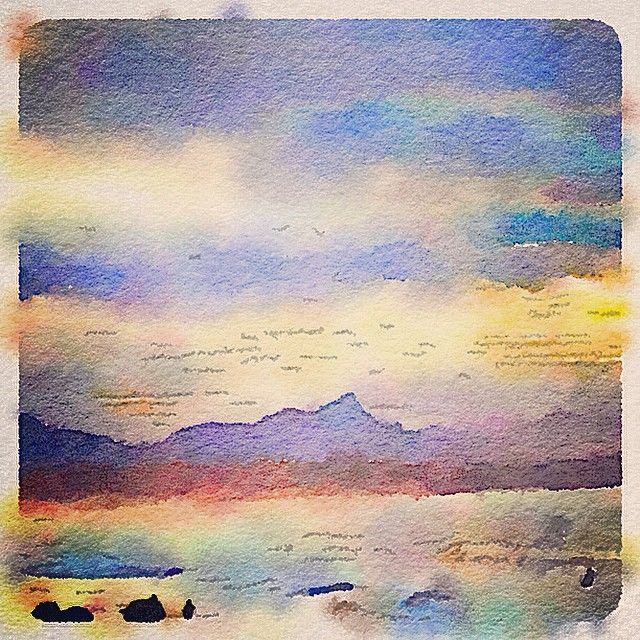 """""""Painted in #Waterlogue #Waterlogueapp #watercolour #seascape #sensationalsunsets #sandscapes #byronbay #beach #beauty"""" Photo taken by @glendapix on Instagram, pinned via the InstaPin iOS App! http://www.instapinapp.com (04/14/2015)"""