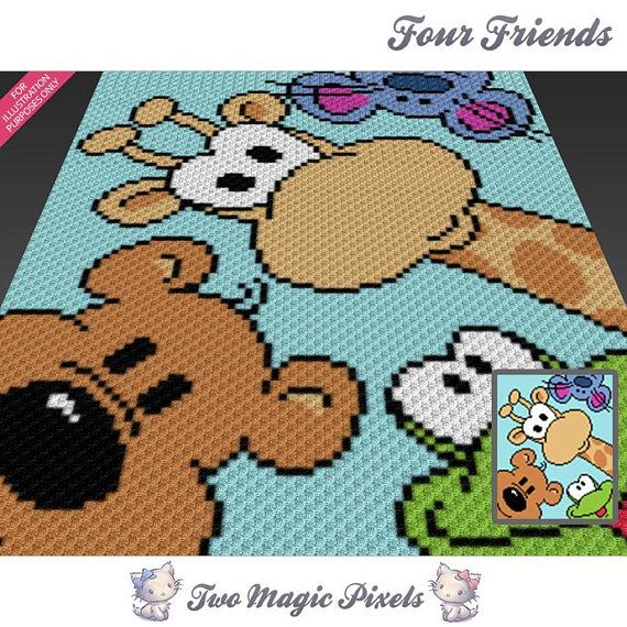 Four Friends crochet graph (c2c, mini c2c, sc, hdc, dc, tss), cross stitch, knitting; PDF download, no counts or instructions