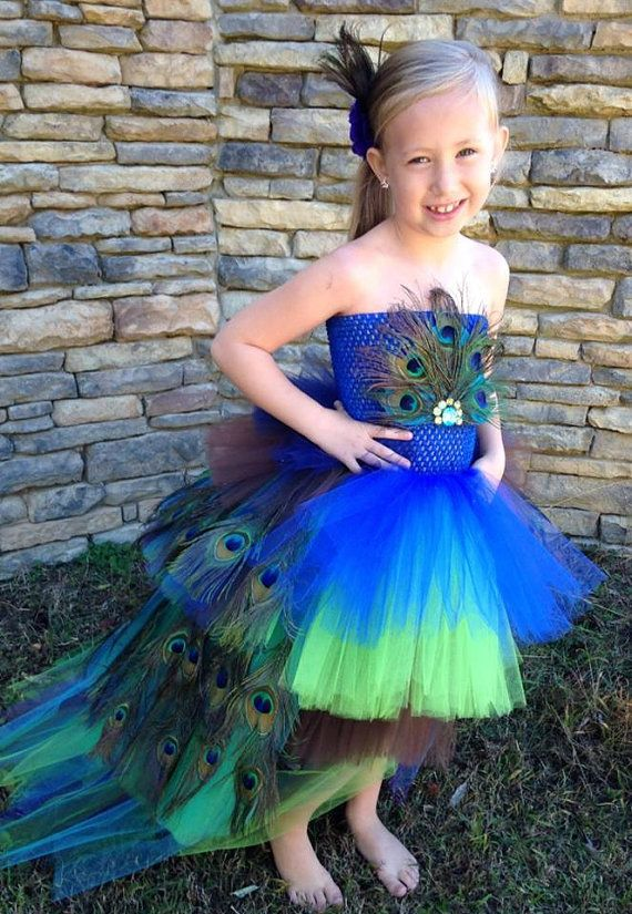 Peacock Tutu Costume Pageant Party Portrait Dress by BlissyCouture