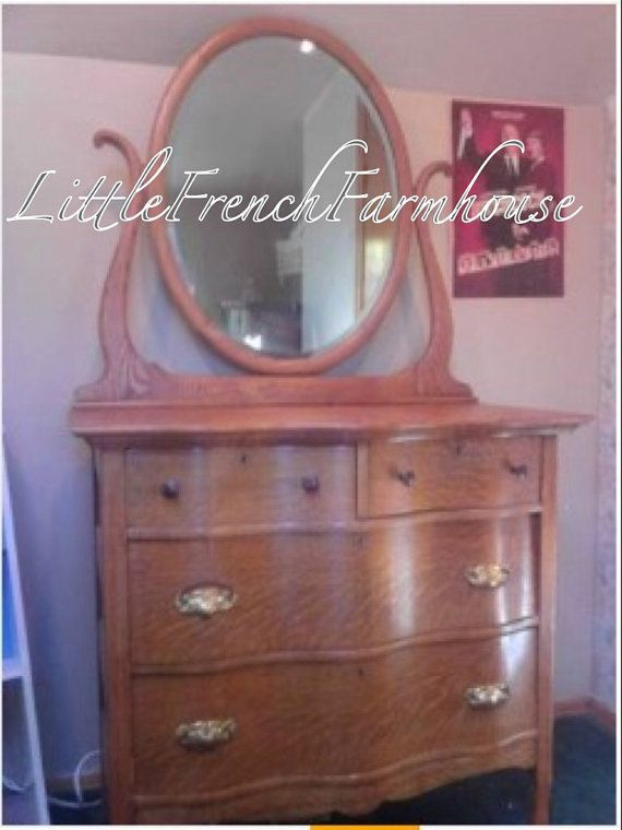 Paint To Order 1920 S Vintage Oak Serpentine Dresser With Mirror Keyholes Casters A Show Stopper In Beaut Cond