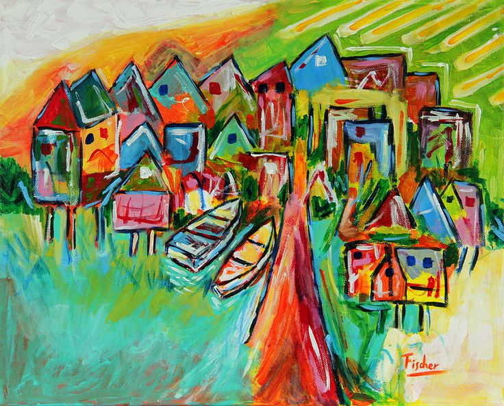 """""""Palafites, Greater Island of Chiloe"""", acrylic on canvas, 50x40, 2013 #art #painting #artist #acrylic #chiloe #chile #colorful #canvas #fischerart"""