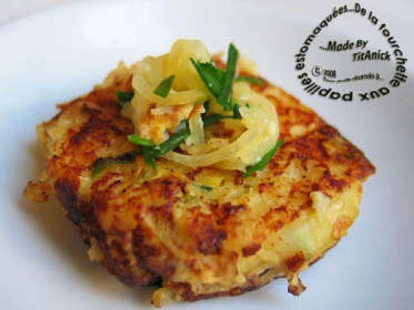 Recette autre : Galettes de courge spaghetti aux oignons et fromage par TitAnick