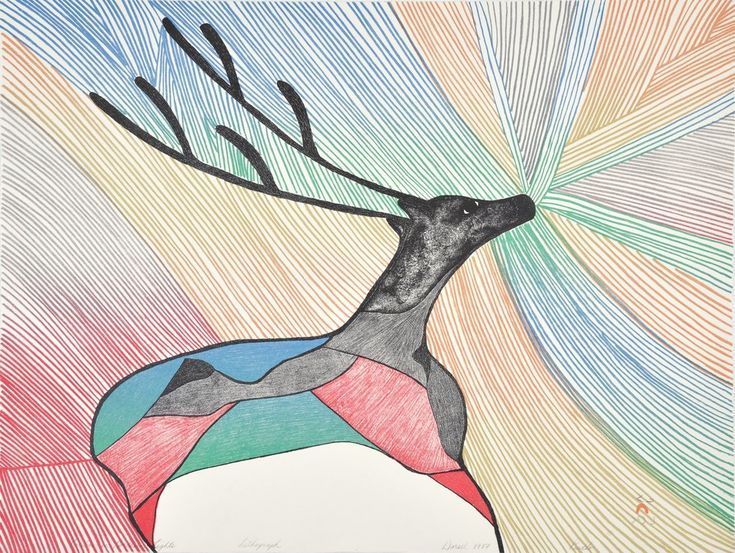 Caribou in Northern Lights by Pudlo Pudlat. Cape Dorset Print Collection