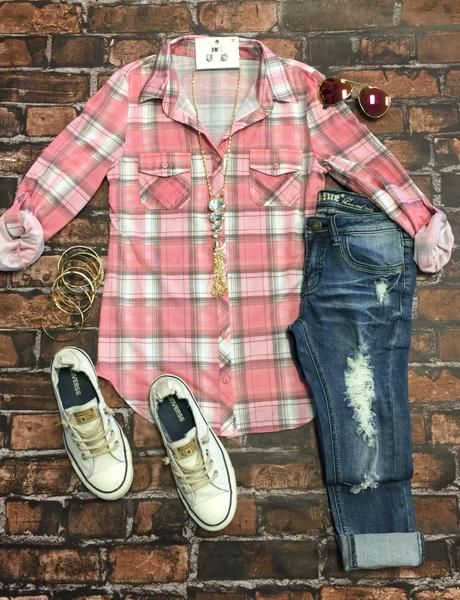 Penny Plaid Flannel Top: Blush top can be worn as long sleeves or a 3/4 top. It is so very soft and comfy! This is a soft stretchy awesome material!