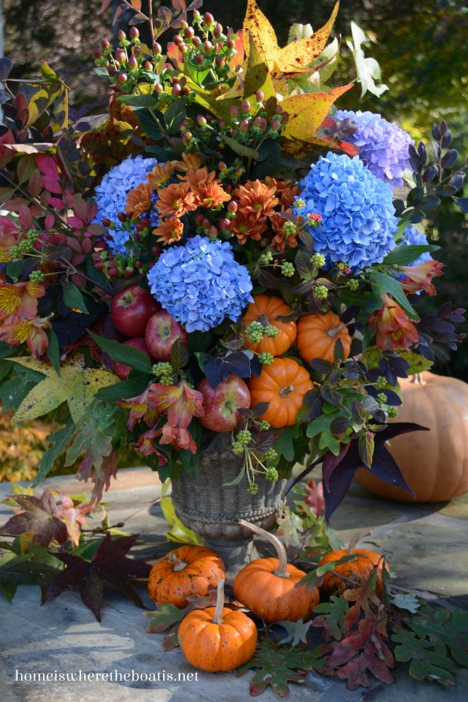 Bountiful and beautiful fall floral arrangement! Who knew hydrangeas looked so good with pumpkins? | homeiswheretheboatis.net
