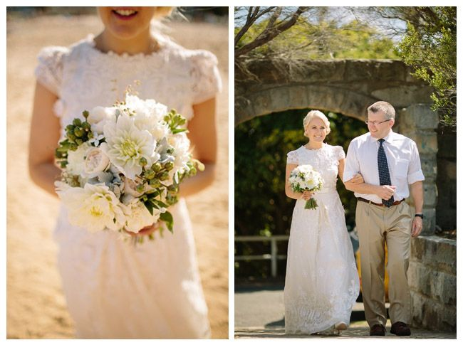 Textured whites and greens for the sweetest couple, Sarah and Elliott.