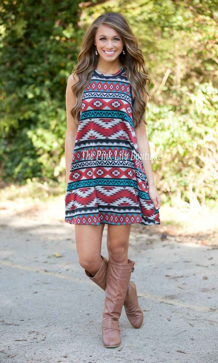 The Pink Lily Boutique - Illusion Of Aztec Dress Red , $32.00 (http://thepinklilyboutique.com/illusion-of-aztec-dress-red/)