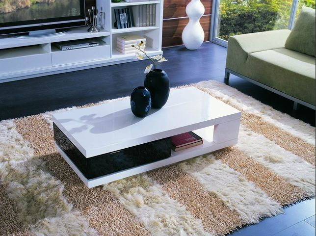 modern black and white rectangular coffee table hanno living room