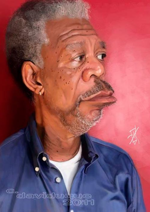Caricatura de Morgan Freeman.