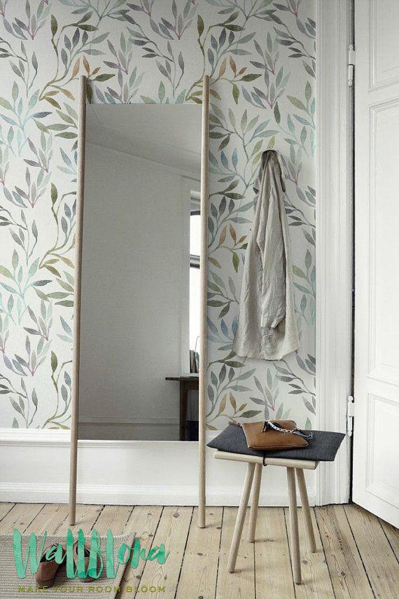Papel tapiz removible pelar y pegar / autoadhesivo Wallpaper acuarela hojas patrón / 209