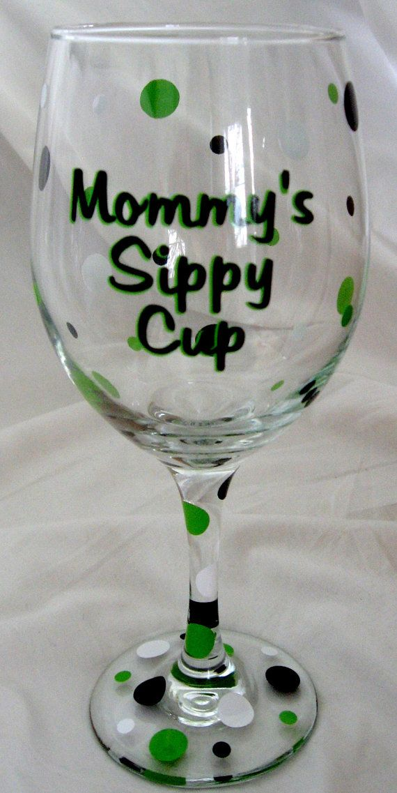 SO funny! Mommy's Sippy Cup Personalized Wine Glass by MemorableDesigns, $10.00