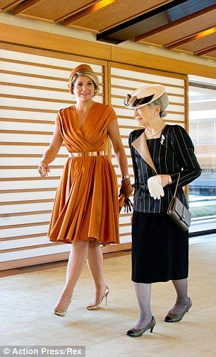Queen Maxima of the Netherlands with Empress Michiko on the state visit to Japan 10/29/14
