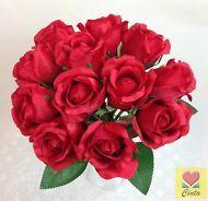 ARTIFICIAL SILK FLOWER RED ROSE FLOWERS WEDDING BOUQUET POSY cintahomedeco