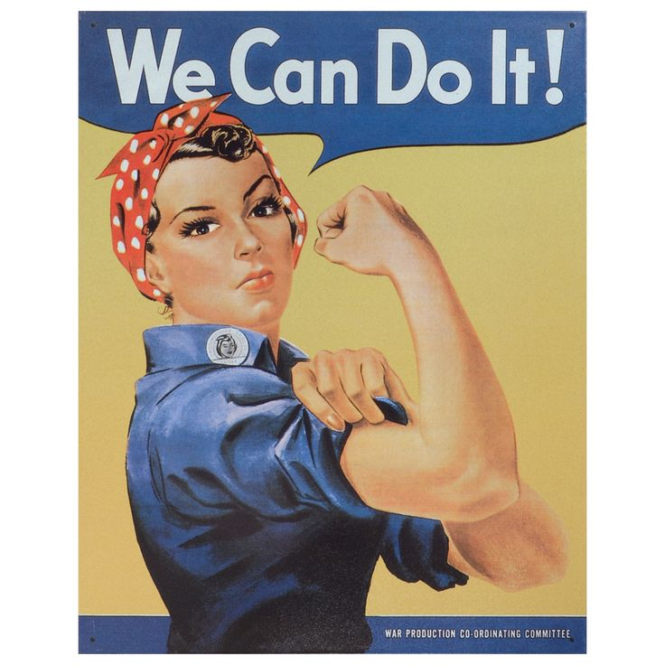 This vintage metal art 'Rosie the Riveter' decorative tin sign measures 16 inches by 12.5 inches and is using heavy gauge American steel. This nostalgic tin sign comes with pre-punched holes, so it's ready to hang.