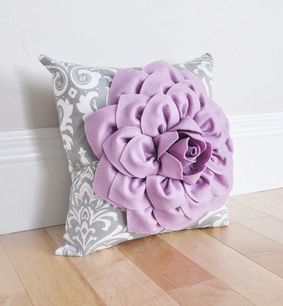 Damask Nursery Pillow. Lilac Purple Dahlia Flower on Gray and