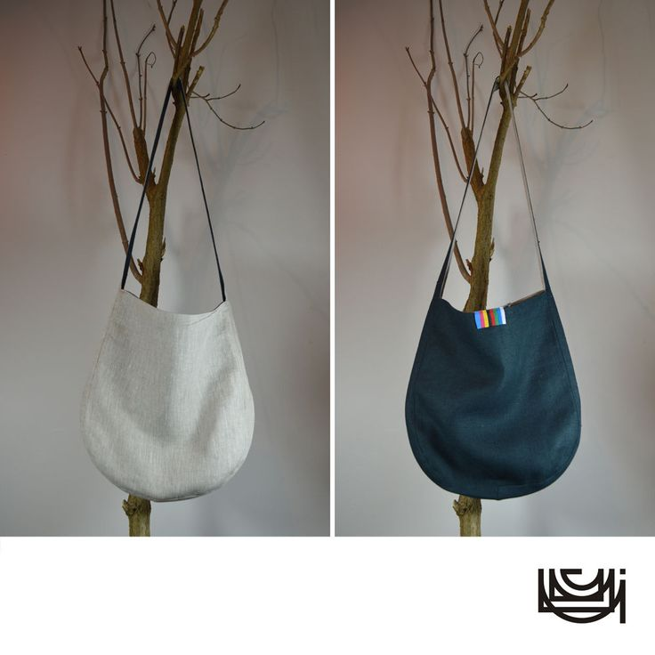 "Pure Linen Shoulder Tote Bag with a Single Long Strap ""Beige Green"""
