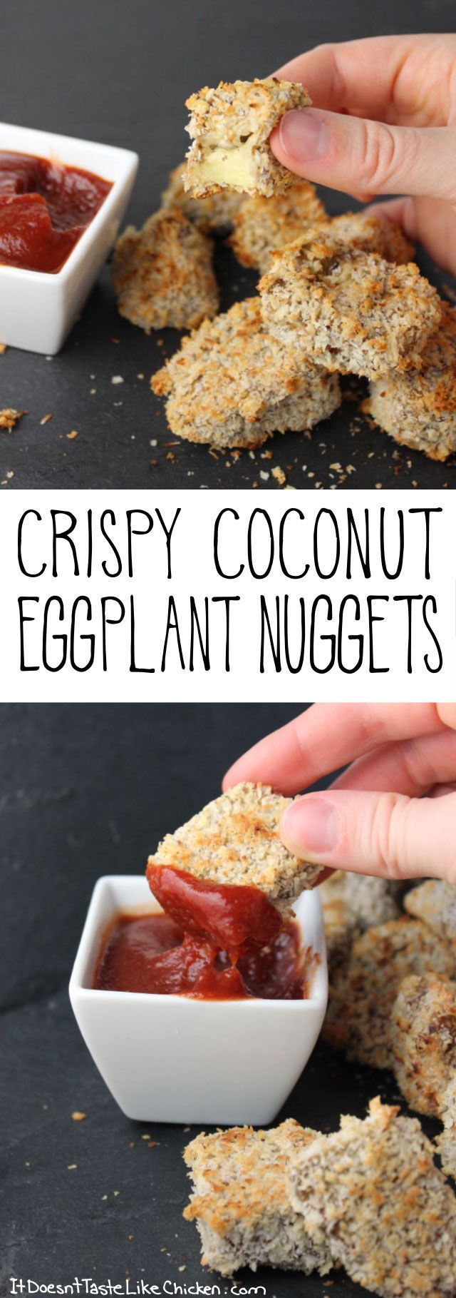 ☆Crispy Coconut Eggplant Nuggets! Even eggplant haters love this recipes. A great vegan and vegetarian appetizer. Gluten free options included. #itdoesnttastelikechicken