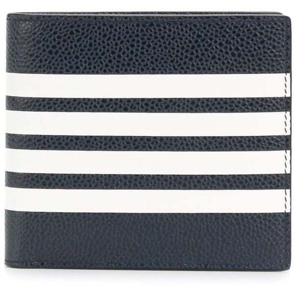Thom Browne Men's Blue Wallet (1,275 CAD) ❤ liked on Polyvore featuring men's fashion, men's bags, men's wallets, blue, mens wallet, mens blue leather wallet, mens leather wallets and blue mens wallet