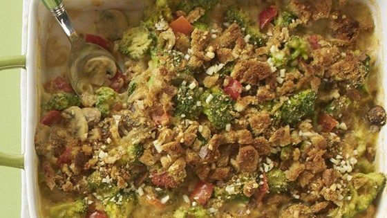 A more nutritious version of the classic casserole, made with mushrooms, peppers, and whole-wheat bread crumbs.