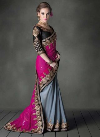 Beautiful Grey And Magenta Faux Georgette Embroidery Patch Border Work Saree http://www.angelnx.com/