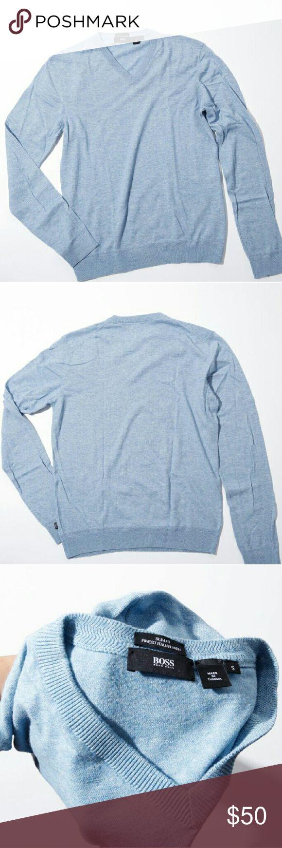 Boss by Hugo Boss men's cashmere sweater Men's Italian cashmere v neck, slim fit sweater. Light blue. No signs of wear. Size S. Hugo Boss Sweaters V-Neck