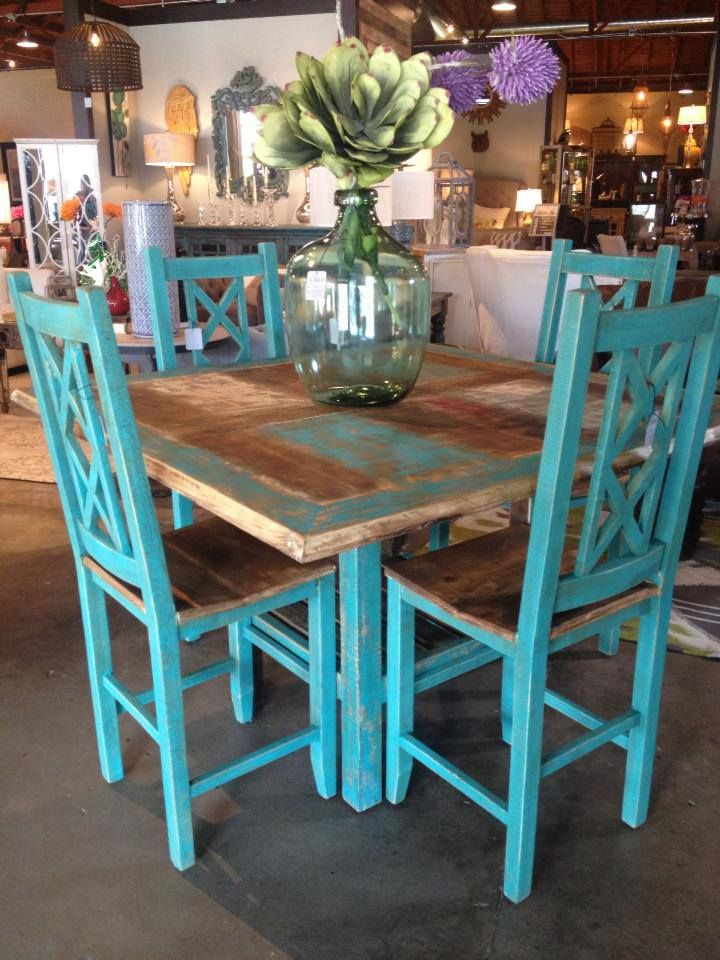 square dining table turquoise counter height stools clear turquoise glass vase - Rustic Dining Set