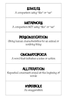 Contains the defintions of metaphor, simile, personification, onomotapia, alliteration, and hyperbole.  Students cut apart the definitions and use ...