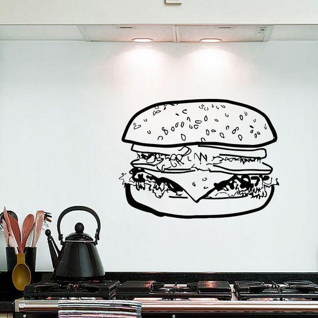 2016 новый дом Наклейки На Стены Большой Гамбургер Сэндвич Фаст-Фуд Виниловые Наклейки Декор Кухня бесплатная доставка
