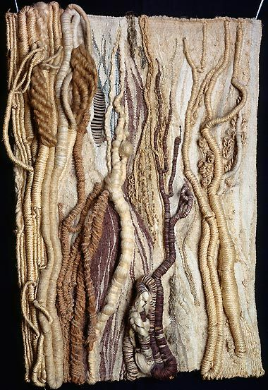 Textile Art by Rosemarie Heber Koczÿ - 'Trees', 1972. Hemp, sisal, linen, jute, raw silk, algae, and wool, 94 x 57 cm. Peggy Guggenheim Collection, housed in the Palazzo Venier dei Leoni, an 18th century palace, which was Guggenheim's home. Venice. http://www.guggenheim-venice.it/inglese/collections/artisti/biografia.php?id_art=90