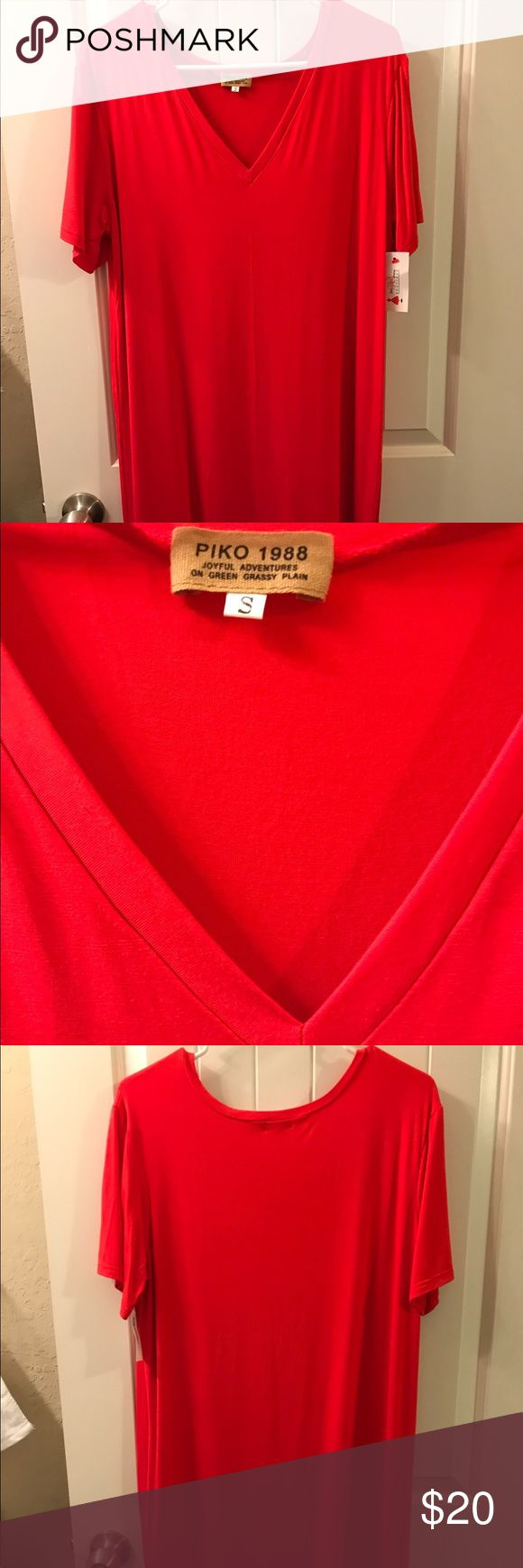 Dress Red Dress boutique red Tee shirt dress. Super cute! Never worn tag still on, ordered two by accident! Piko 1988 Dresses Midi
