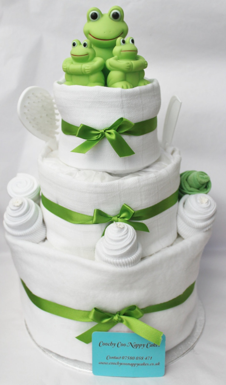 Three Tier Bathtime Frog Baby Nappy Cake.