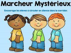 Le marcheur mystérieux est un moyen d'encourager les élèves à circuler en silence dans le corridor.     Avant de sortir dans le corrid...