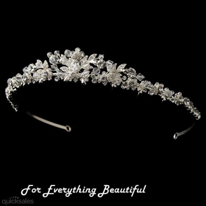 Princess Peak Floral Rhinestone Silver Wedding Bridal Headband by JB7339 - $110.00