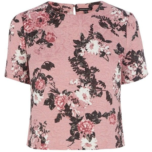 Warehouse Pattern Floral Jacquard Tee, Pink Pattern (£5) found on Polyvore featuring women's fashion, tops, t-shirts, pink tee, short sleeve t shirt, floral print tee, floral tops and pink floral top