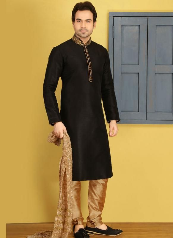 fb45c2595d Phenomenal Black Banarasi Silk Party Wear Kurta Pajama EID Special Mens Kurta  Pajama Miraamall Buy Now