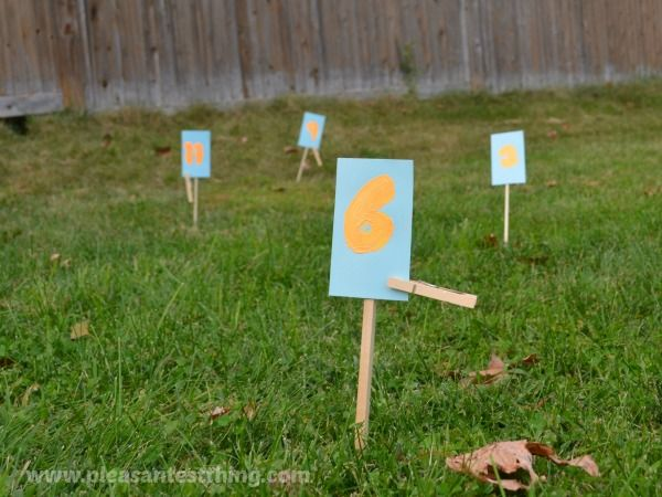 I give the kids cards with varying numbers of stickers on them, the kids count the stickers on the cards, and then run and find the stick th...