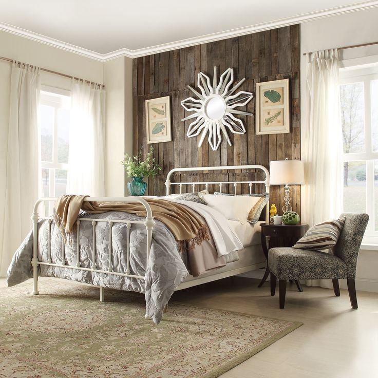 Giselle Graceful Lines Victorian Iron Metal Bed by iNSPIRE