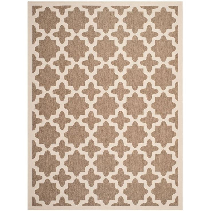 Indoor/Outdoor Area Rug   3K34402600 At The Home Depot In Coral $209.  Safavieh Courtyard Brown/Bone 9 Ft. X 12 Ft. Area Rug CY6913