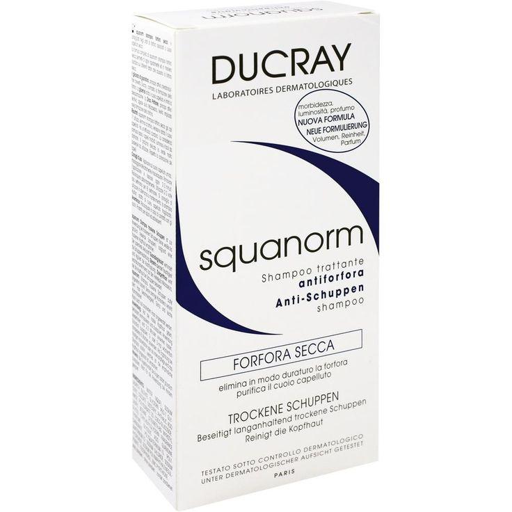 DUCRAY SQUANORM trockene Schuppen Shampoo:   Packungsinhalt: 200 ml Shampoo PZN: 10308880 Hersteller: PIERRE FABRE DERMO KOSMETIK GmbH…