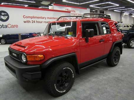 Toyota offers a red FJ Cruiser Trail Teams Special Edition.  This is my next car!  I've been eyeballing this baby for a bit and am ready to hold out until I can find a great price in the next year or so.
