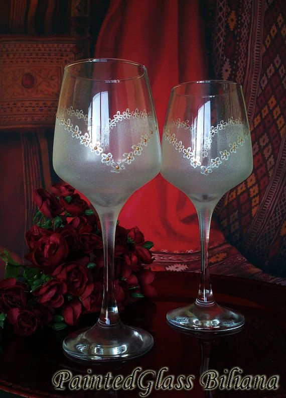 Unique Painted Wedding Wine Glasses