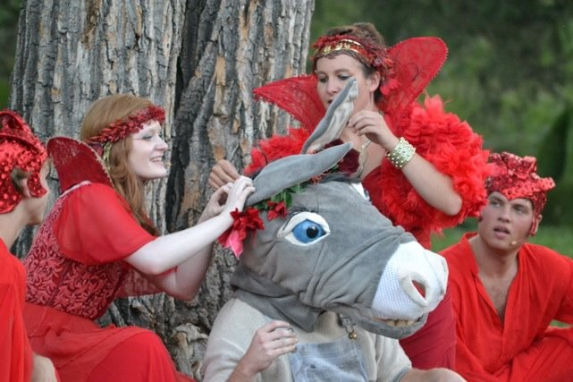 Bottom and the fairies. A Midsummer Night's Dream - Shakespeare in the Park. Theatre Calgary and Mount Royal University.