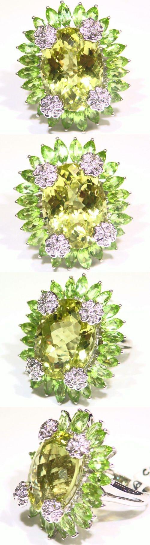 Rings 165044: Vintage 18K Gold Natural Peridot Diamond Quartz Flower Engagement Ring Art Deco -> BUY IT NOW ONLY: $1721 on eBay!