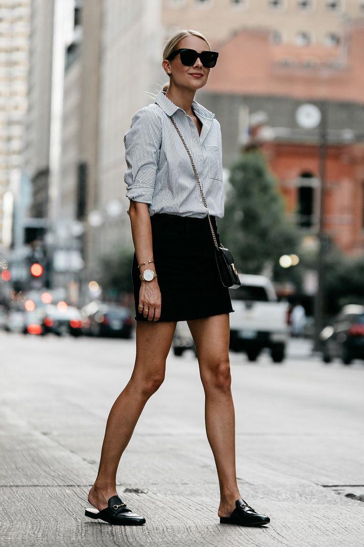 Blonde Wearing Nordstrom Black and White Stripe Shirt Black Denim Skirt Outfit G…