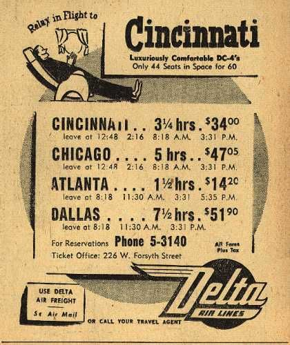 Delta Airline's Various destinations – Relax in Flight to Cincinnati (1947)