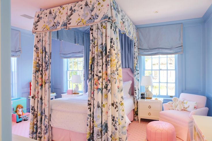 Elegant girl's bedroom.  Walls in Farrow & Ball Lulworth blue, Designer's Guild Seraphina fabric canopy