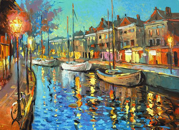 """Nights Music - Wall Art. Contemporary Art  Palette Knife Oil Painting by Dmitry Spiros. Size: 24""""x32"""" (60x80cm)"""