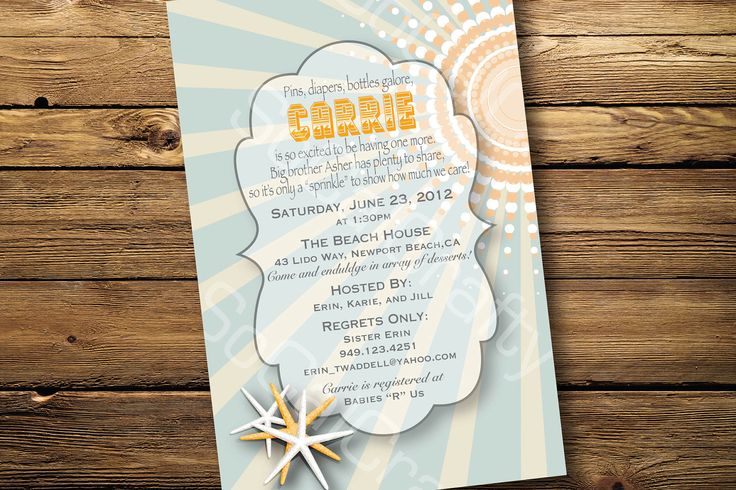 beach theme shower invitations | eBay via ratecore.com
