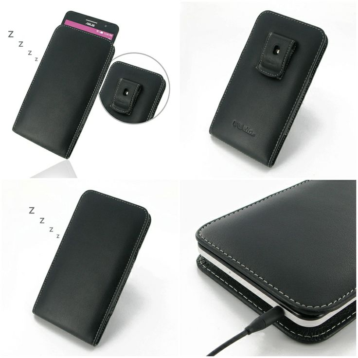 PDair Leather Case for Asus ZenFone 6 - Vertical Pouch Type Belt Clip Included (Black)