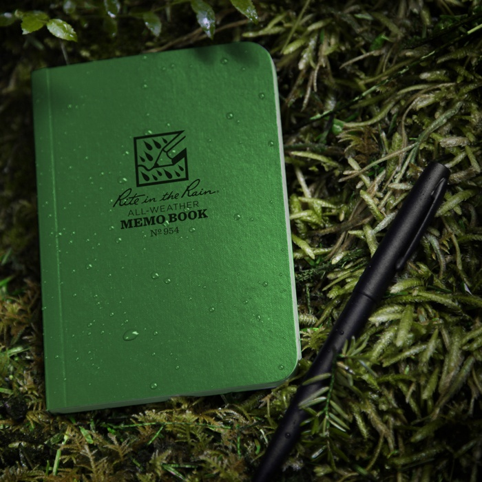 "No. 954 and No. 954T Field-Flex 5"" x 4"" tactical memo books. Come in both Green and Tan. (No. 954 pictured)"